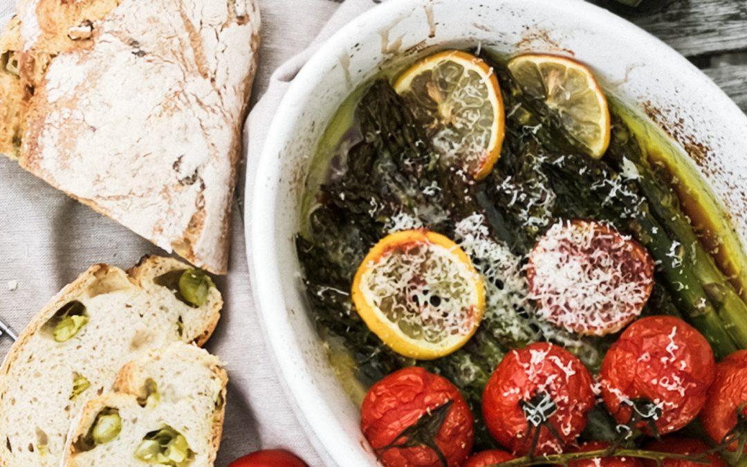 Spargel aus dem Ofen mit Extra Virgin Olivenöl