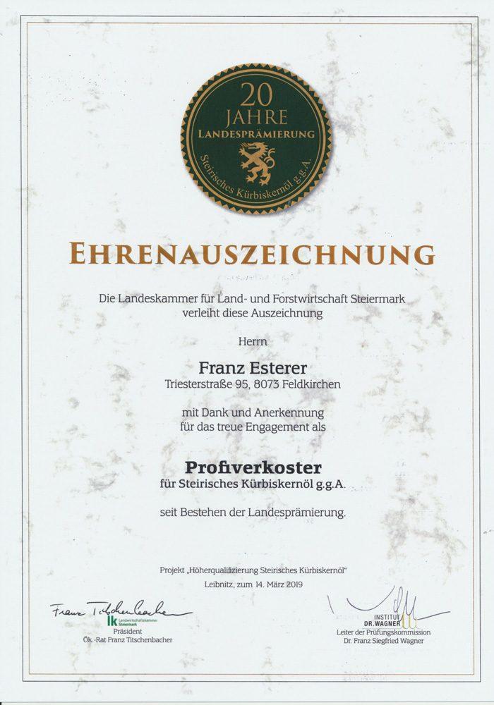 Profiverkoster für steirisches Kürbiskernöl, Franz Esterer