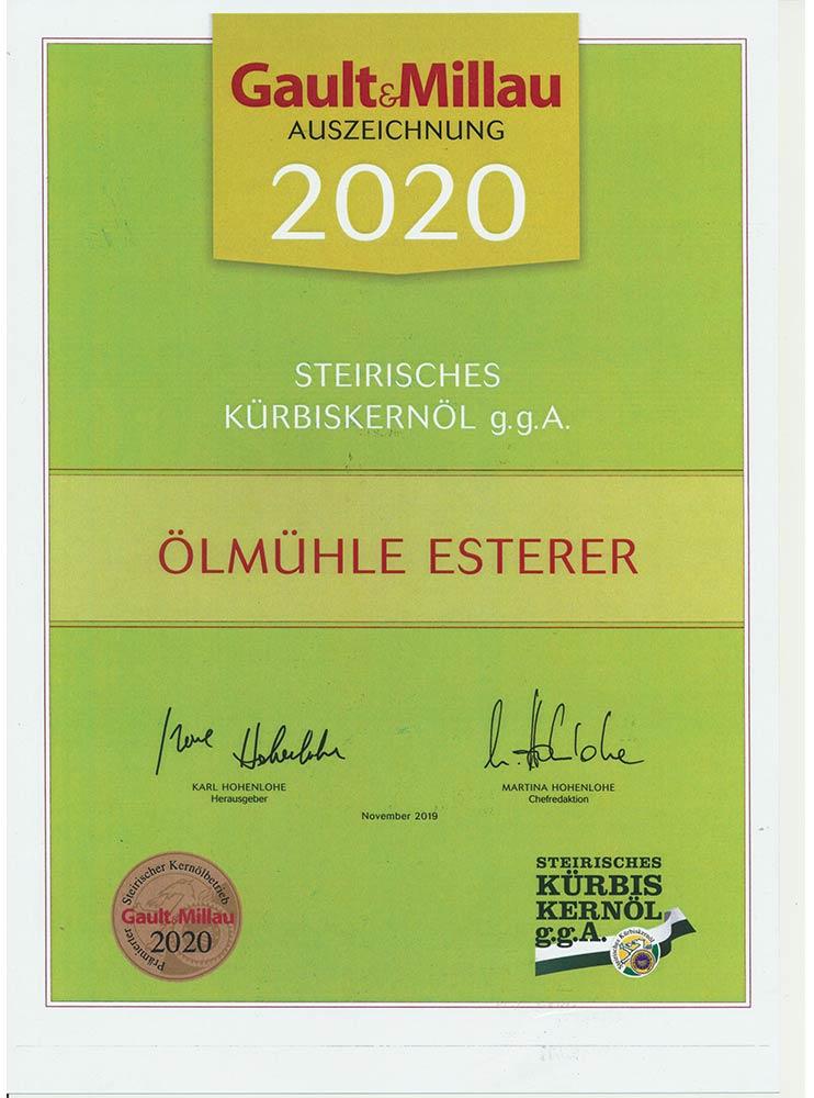 Gault Millau 2019 Auszeichnung für steirisches Kürbiskernöl