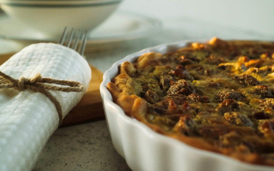 Champignon Quiche mit Kräuter Pesto