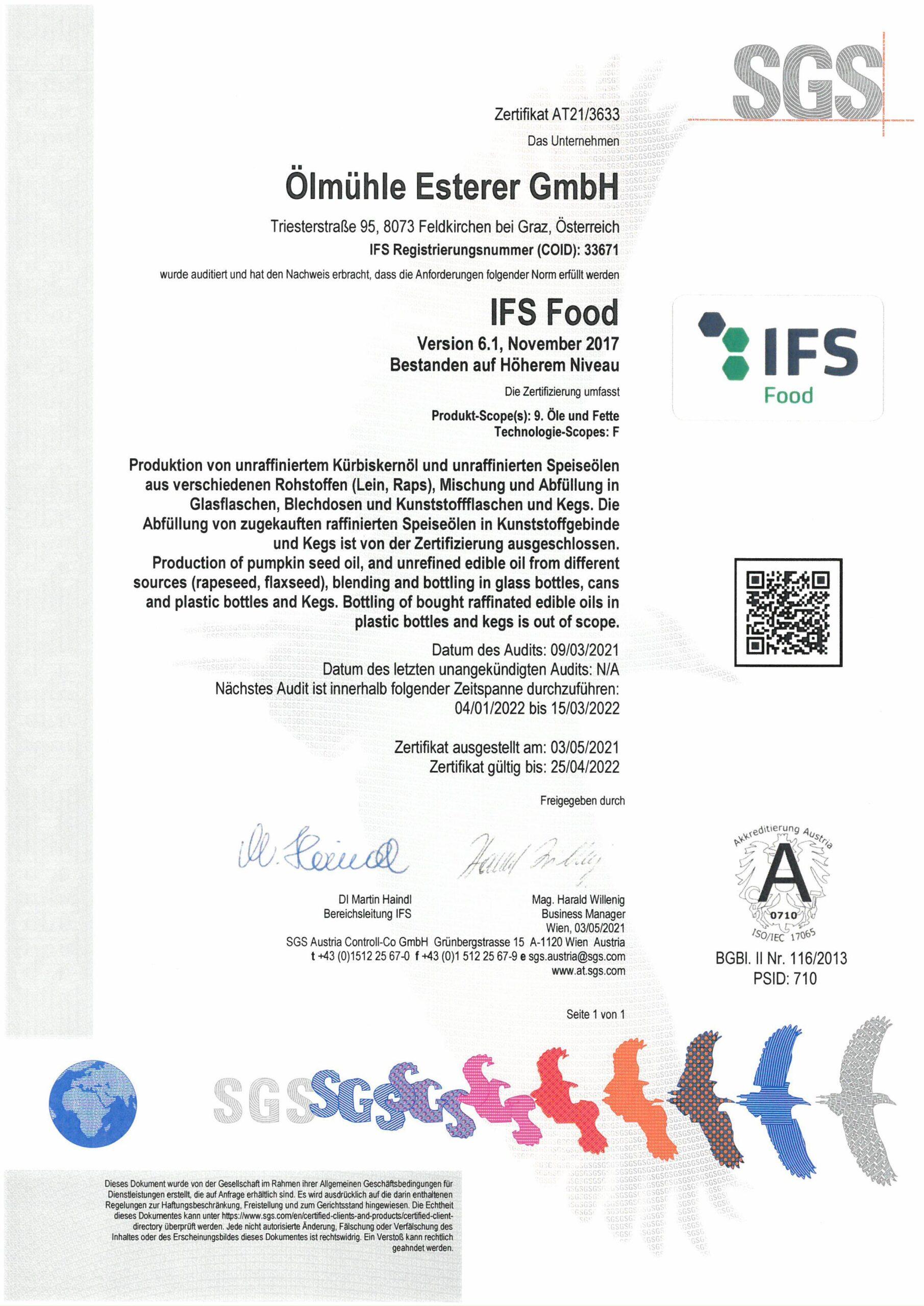 Esterer Ölmühle 523049 V1r 2021 Zertifikat